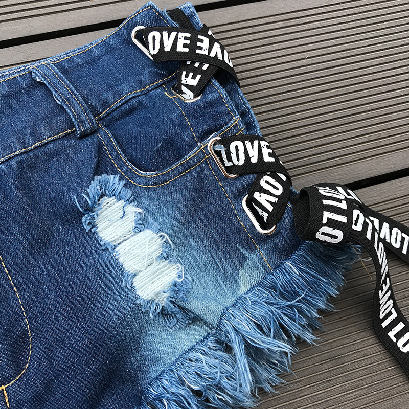 2018 Sexy Low Waist Bandage Denim Ripped Hole Short Jeans Mini Skinny Sexy Club DJ Dance Shorts New White Blue Black
