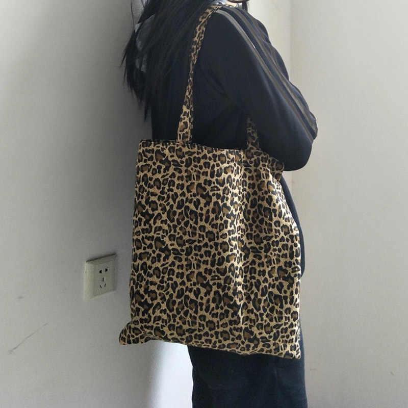Новая женская сумка CanvasTote с леопардовым принтом, сумки для покупок из 100% хлопка, складная сумка, многоразовая эко-сумка 217