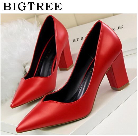 BIGTREE High Quality Pumps Women's Shoes Summer 8 cm Europe and the United States Wind Retro Fashion Temperament Simple Shoes fashion europe style high quality brass