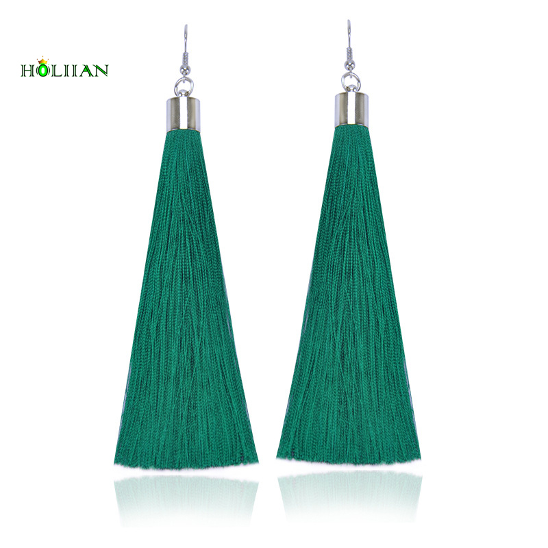 Bohemia Long Fiber Tassel Drop Earrings For Women Fashion Jewelry Pendantes Femmes Ethniques Boho green fringe