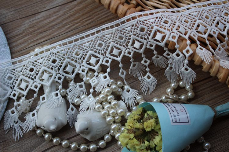 Tassles Lace trim  embroidered  Lace Trim Tulle Lace Trim for Jewlery Supplies, Bridal Supplies 7 yards