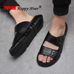 Genuine Leather Men Shoes 2019 Summer Beach Sandals Casual Men Black Shoes Flat Beach Slippers Leather Male Sandals KA1254
