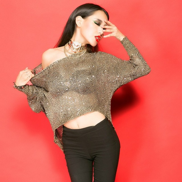 5c83ddf2233 Glitter Sequin crochet top crop sweater poncho knitted blouse gold long  sleeve loose oversize off shoulder ladies Women 2015