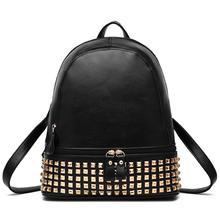 Американский Стиль из искусственной кожи с заклепками рюкзак многофункциональный прилив Для женщин сумка девушка покупки путешествия рюкзак