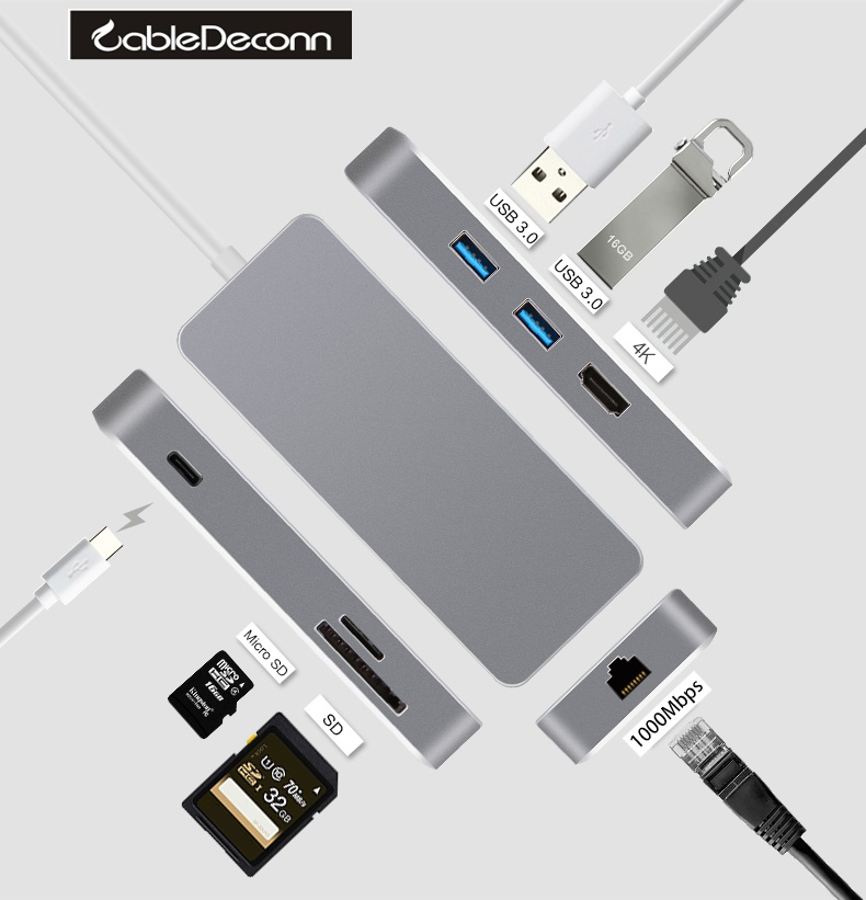 usbc hub thunderbolt 3 hdmi 4k ethernet rj45 1000Mbps usb type-c Multiport Adapter usb3.0 charger tf sd  cable For macbook pro usb 3 1 type c to 4k hdmi hub type c adapter thunderbolt 3 convertor usb c dock dongle combo with sd tf charging for macbook pro
