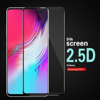 Перейти на Алиэкспресс и купить 2.5D Arc полное покрытие Закаленное стекло пленка для Samsung Galaxy S10 + S10 Plus S10Plus SD855 Exynos G975N S10E S10 черная рамка