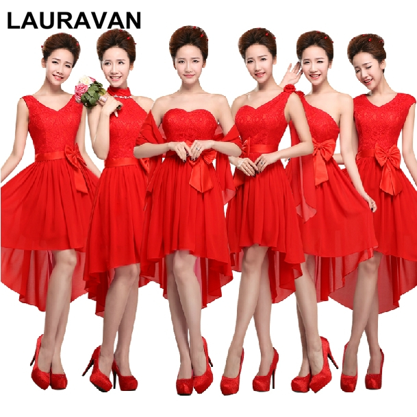 Red Lace Chiffon Elegant Short Front Gown Red Girl Bridesmaid Dress Special Occasion High Low Dresses For Women Bridesmaids