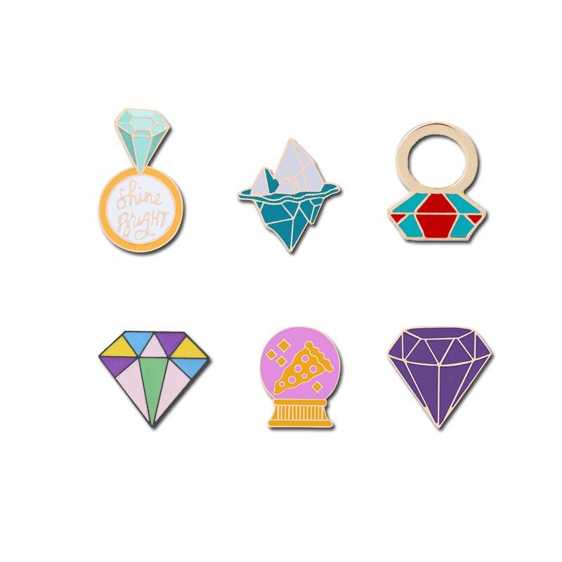 Enamel Pins Metal Broches Women Jewellery Pink Pin Purple Rhinestone Iceberg Gold Medal Sport Brooch Denim Badge Christmas Gifts