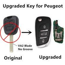 Actualizado 2 BOTONES Flip REMOTO CLAVE Para Peugeot 106 107 206 207 433 MHz ID46 Chip de COCHE de Entrada Sin Llave VA2 Controler hoja