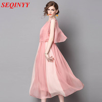 Novelty Light Mature Dress 2017 Summer Fashion Pink Khaki Half Sleeve Strapless Patchwork Buttons Fake Two