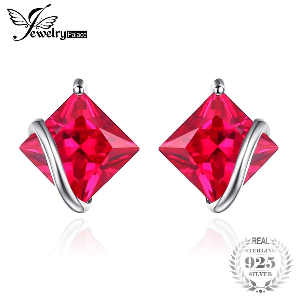 JewelryPalace Klasični trg 2.8ct Stvoren Crveni Ruby Stud Naušnice Charm 925 Sterling Silver Brand Vjenčanje Fine Nakit za žene