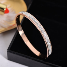 Luxury Crystal Super Shiny Lover Cuff Stainless Steel Bangle