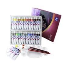 หน่วยความจำสีอะคริลิคชุดสำหรับภาพวาดผ้าสิ่งทอเล็บ 3 แปรงและ 1 Palette