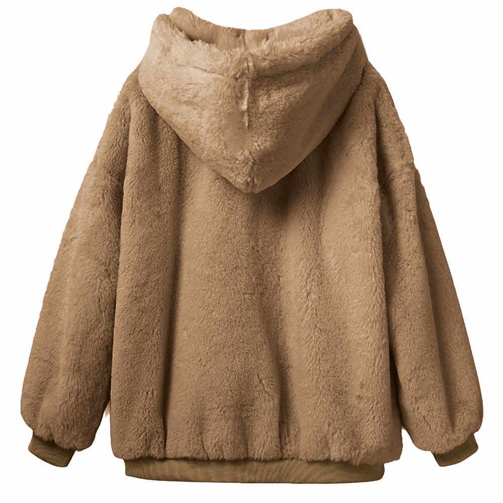 KANCOOLD 2018 Outono Inverno Falso Casaco De Pele Das Mulheres Quente Fofo Casaco de Manga Longa Outerwear Jaqueta Casaco Peludo Pullover PJ0921