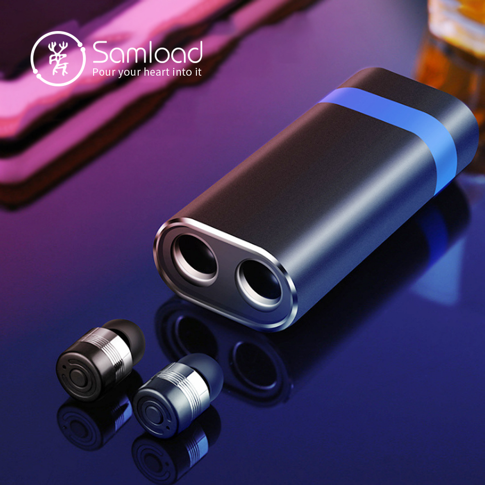 Samload Mini Bluetooth 5 0 Earbuds with 2000mAh Power Bank Portable Charging case Mic Wireless Stereo