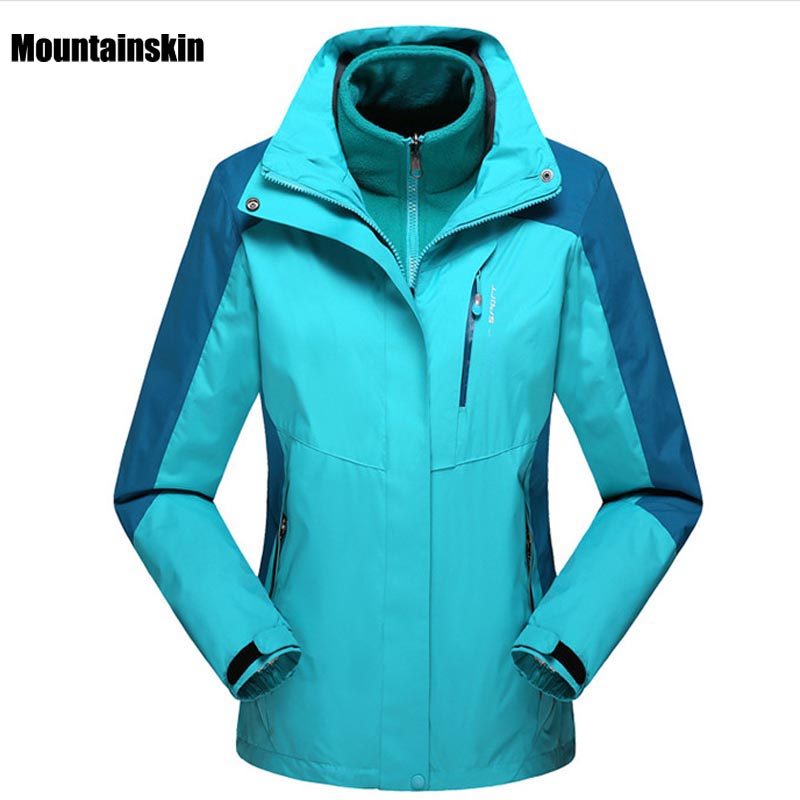 2018 Men Women Winter 2 Pieces Inner Fleece Jacket Outdoor Sports Brand Softshell Coats Hiking Skiing Male Female Jackets VA055