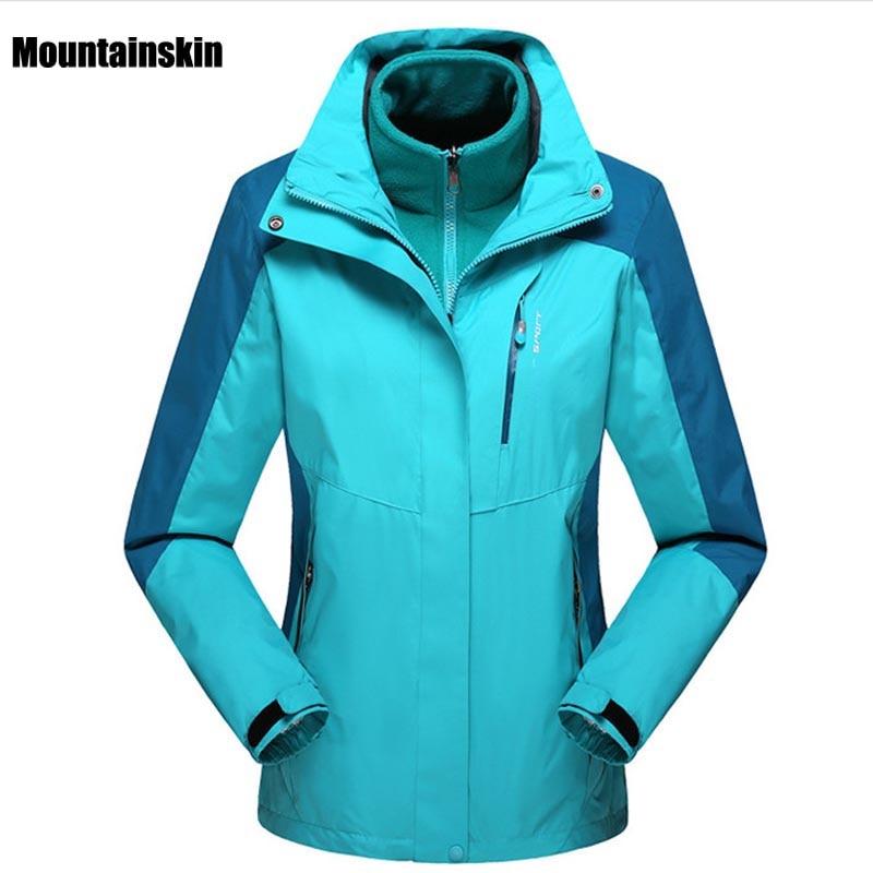 ФОТО 2017 Men Women Winter 2 Pieces Inner Fleece Jacket Outdoor Sports Brand Softshell Coats Hiking Skiing Male Female Jackets VA055