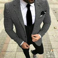 2019 Tailor made Casual 3 Piece Business Men Suit Terno Slim Fit Black And White Plaid Prom Blazer Tuxedo For Men Wedding Suits