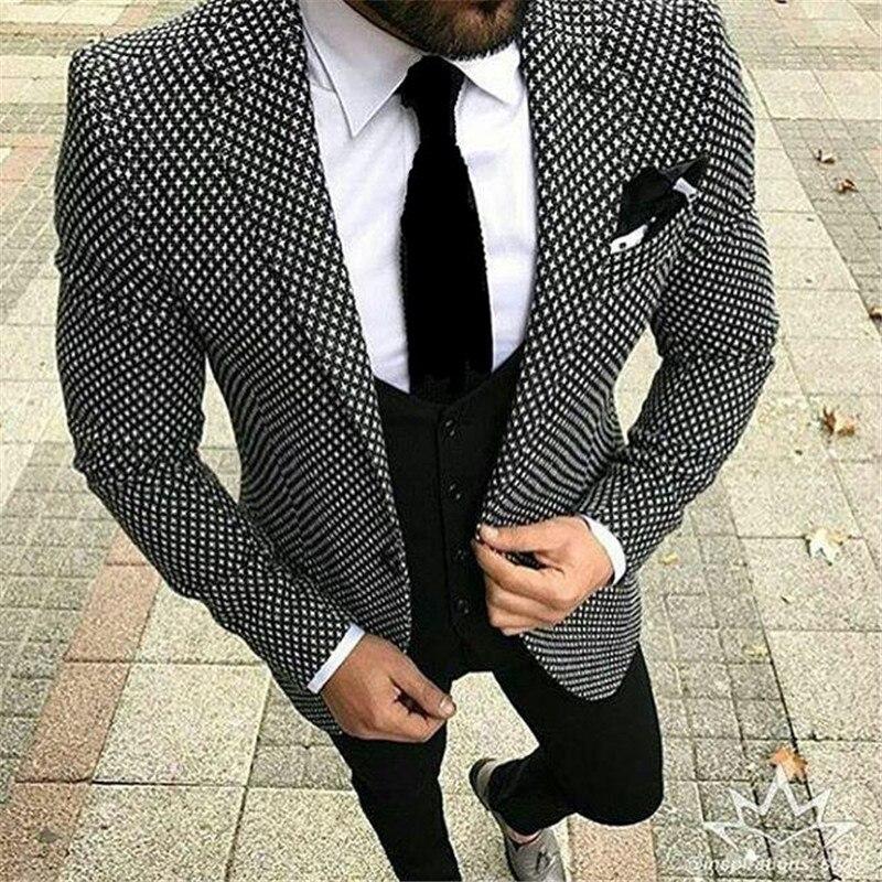 2019 sur décontracté 3 pièces hommes d'affaires costume Terno Slim Fit noir et blanc Plaid Prom Blazer smoking pour hommes costumes de mariage