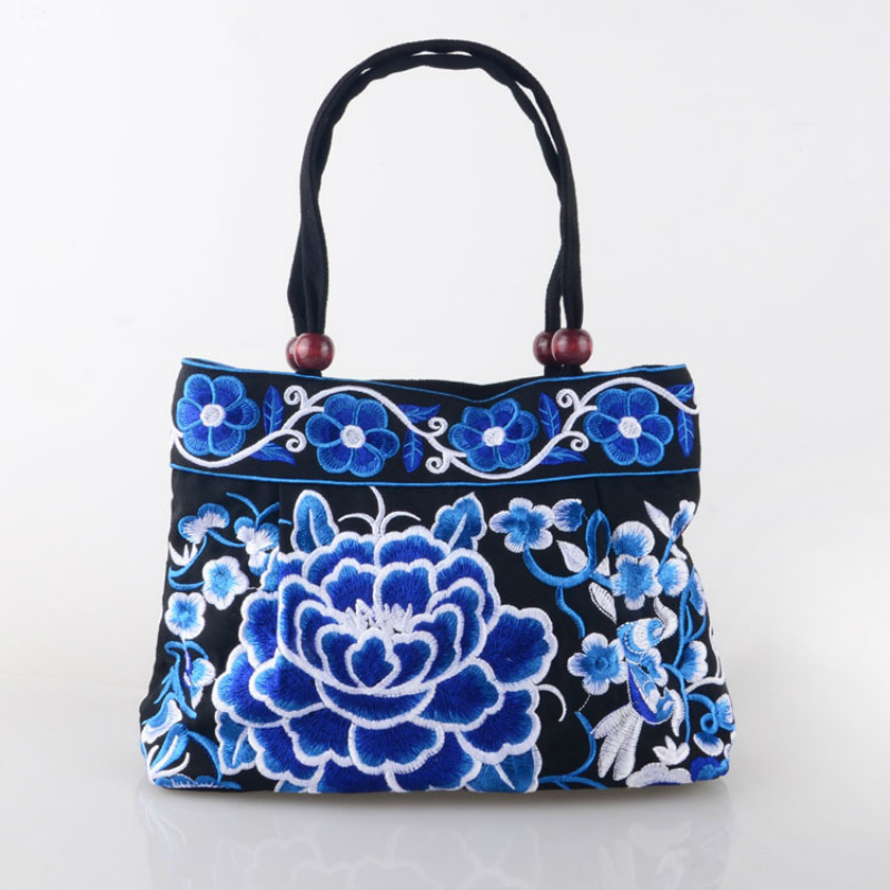 2017 new characteristic chinese style embroidery peony women hand bag canvas nice embroidered flower woman handbag Shoulder Bags