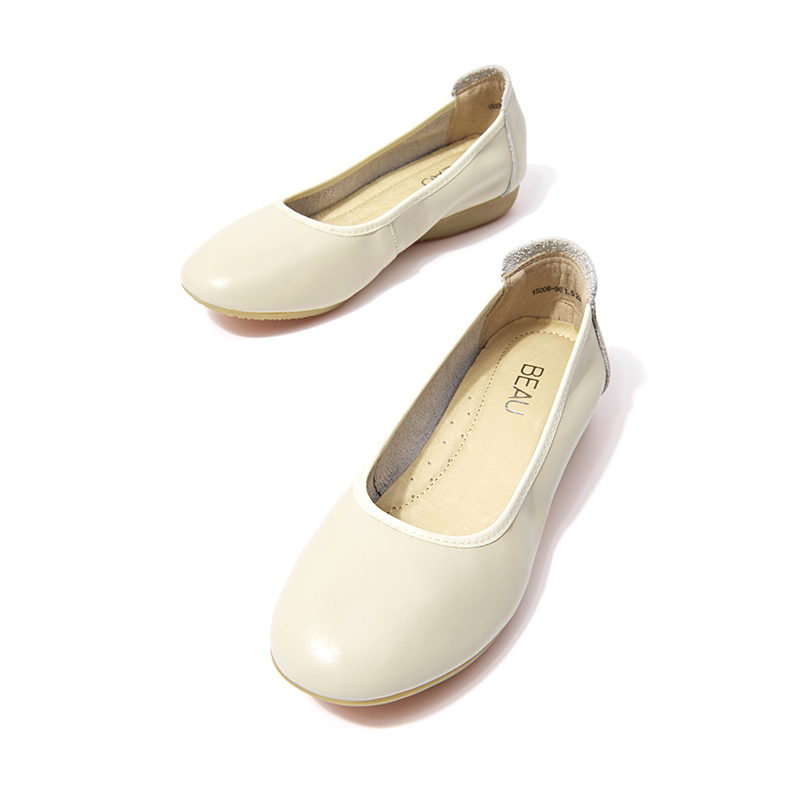 Dames Sur Travaillent Bout Slip Cuir Vache De Bureau Femmes Rond Chaussures Beige black Nappa En Véritable Beautoday Handmade15006 64FSx8wqn