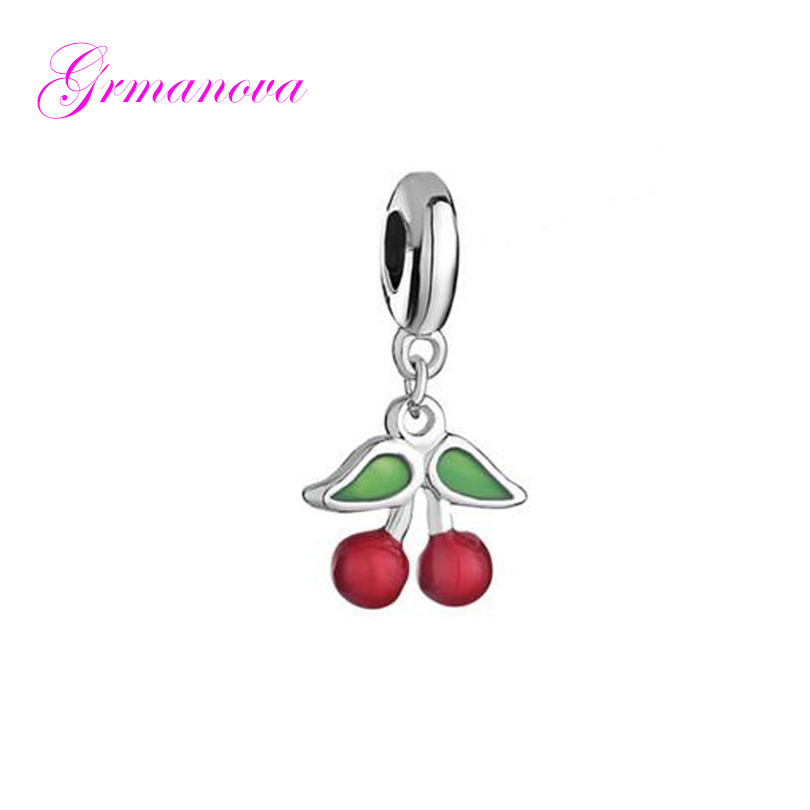 Cherry pendant charm beads red & green enamel amulet original brand jewelry design Fit Pandora Bracelet Necklace image