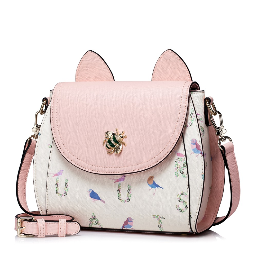 ФОТО Women Magic Forest Cat Ear Patchwork Leather Flap Cross Body Shoulder Handbag Purse Messenger Bag