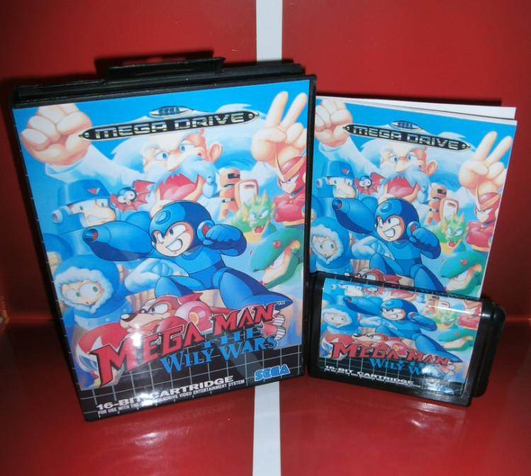 Mega Man The Wily Wars EU Cover with box and manual for Sega MegaDrive Genesis Video Game Console 16 bit MD card image