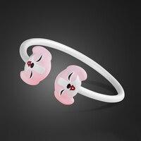 Kids wearing bracelets S925 sterling silver bracelet pink puppy pendant design solid silver bracelet cute baby jewelry best gift
