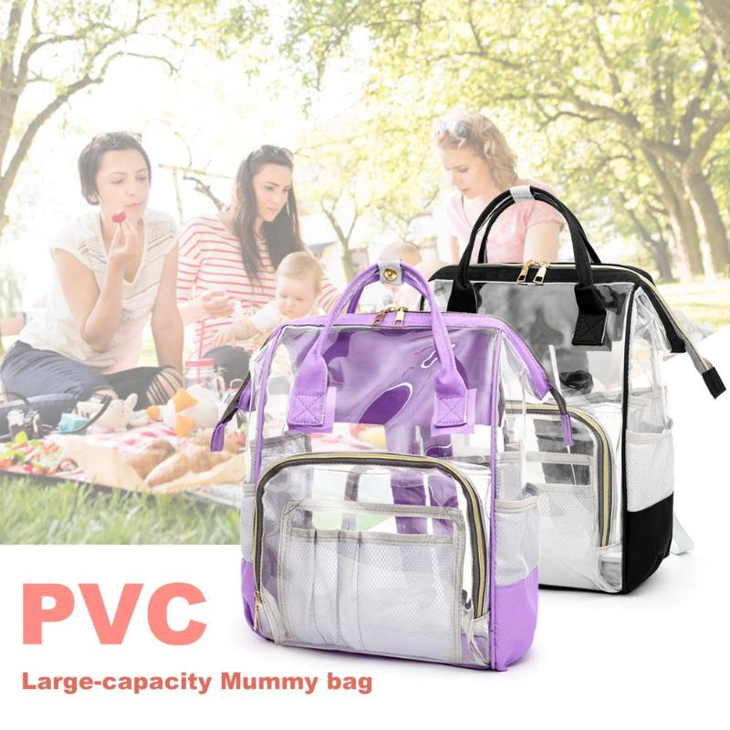 Transparent PVC Mummy Diaper Bag Large Capacity Maternity Nappy Bag Outdoor Mom's Backpack Nursing Bag Mummy Travel Backpack