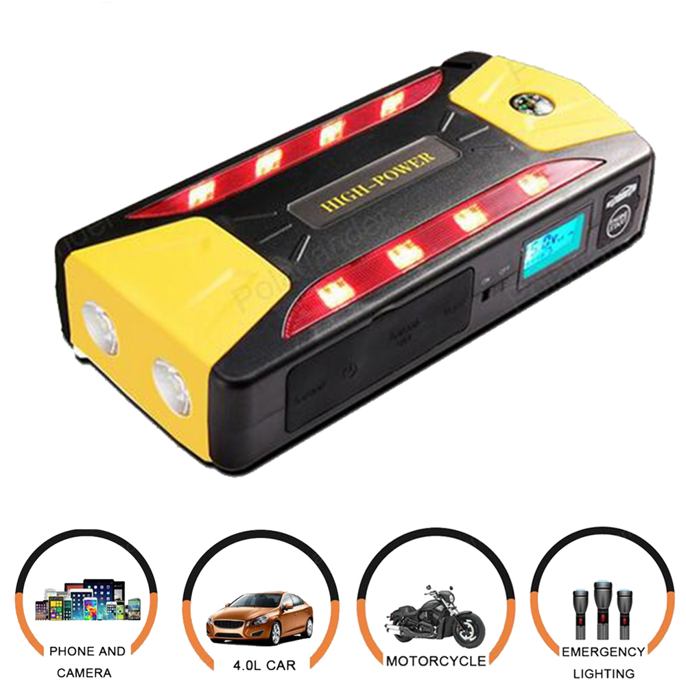 portable car jump starter multi function power bank mobile phone laptop battery charger auto booster 12V  2017 high capacity 15000mah car jump starter portable 12v car battery booster charger mobile 2usb power bank sos light free ship