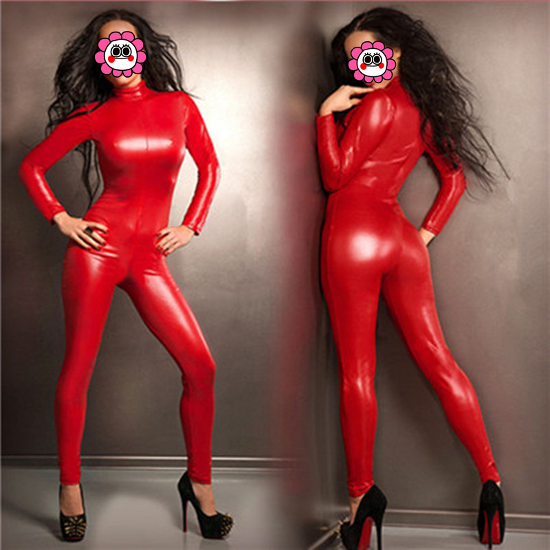 Abbille Sexy Queen Red Faux Leather Jumpsuit Latex Bodysuit Playsuits High Stretch Zentai Suit Catsuit Women Club Pole Dance