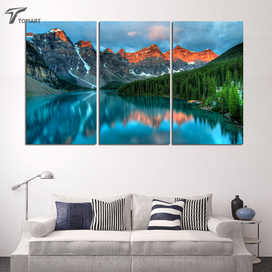 3 piece banff national park scenery landscape wall decor for Canadian home decor stores