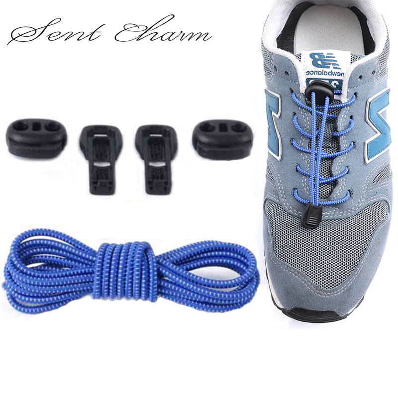 SENTCHARM Round Free Lazy Adult Children Safety Locking Shoelaces Elastic LACES Outdoor Sport Casual Shoes LT011