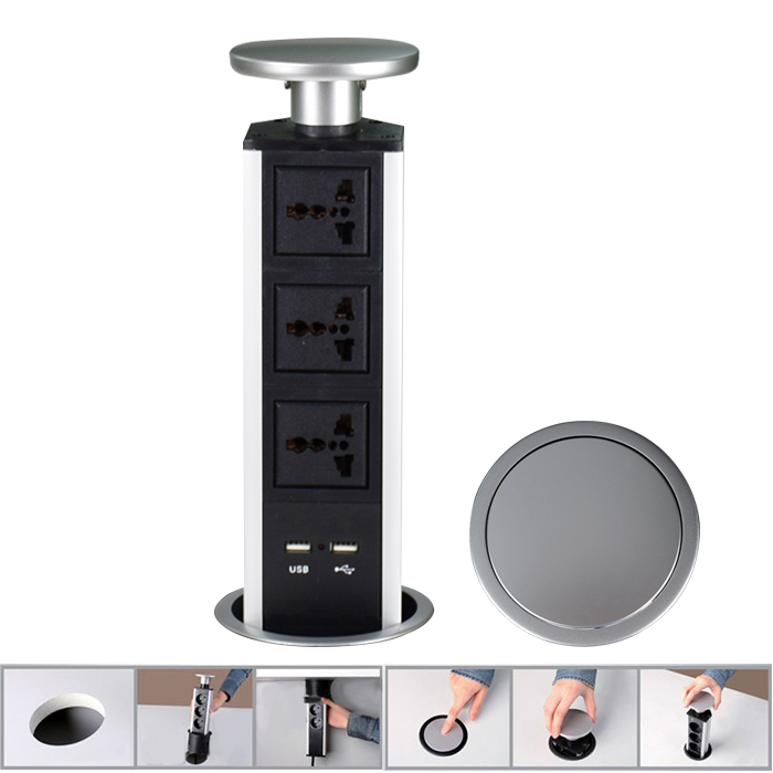 New 2018 Universal Tensile Type Pop Up Tabletop Kitchen Socket With Led Indicator 2 Usb Port Desktop In Plug From Consumer