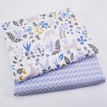 2шт олень&полосы саржа ткань для платье лоскутное ткань для DIY швейные лоскутное жира четверти материал для детской постельное белье
