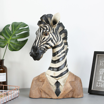 Modern Creative Gentleman Zebra Wearing A Suit Vintage Statue Home Decor Crafts Room Decoration Objects Office Resin Figurines