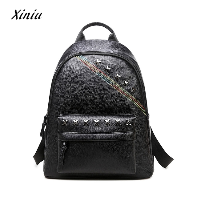 Fashion Punk Style Women S Leather Shoulder Bag Clutch Black Pu Tote Purse Hobo Backpack Rucksack