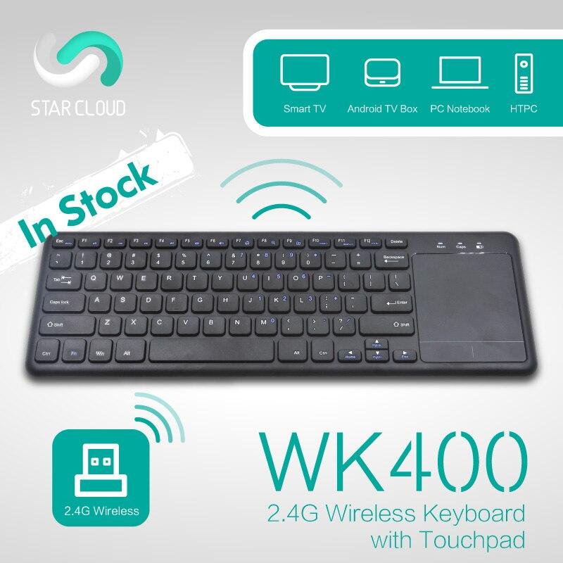 Kablosuz Klavye Touchpad Fare ile 2.4 GHz Mini Klavye QWERTY İngilizce Yıldız Bulut Android TV Kutusu Mini PC Için WK400 masaüstü