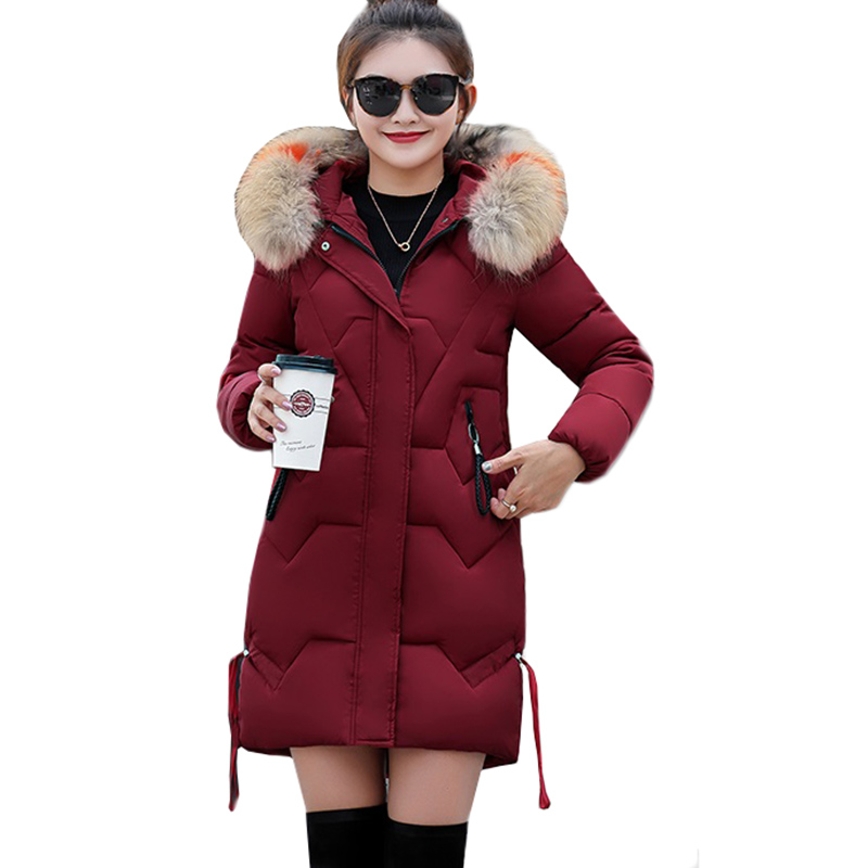 2019 Winter Women Jacket Thick Warm Hooded Slim Down Cotton Parkas Fur Collar Padded Outwear Coats Long Clothing Plus Size 3XL