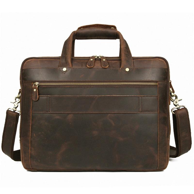 Nesitu Vintage Brown Crazy Horse Genuine Leather Office Men Briefcase 14'' 15.6'' Laptop Portfolio Male Messenger Bags M7388
