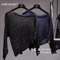 Cakucool Sequined Knit Tops Women Shiny Long Sleeve Shirts Off Shoulder Slash Neck Asymmetric Bling Tee