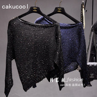 Cakucool Sequined Knit Tops Women Shiny Long Sleeve Shirts Off Shoulder Slash Neck Asymmetric Bling Tee