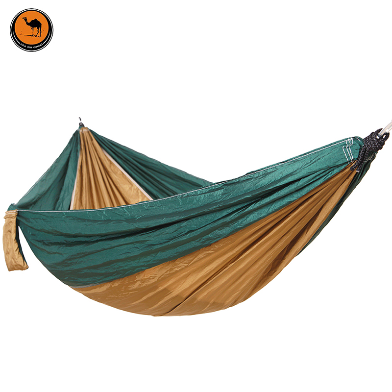 260*140CM 2-Person Hammock Portable Parachute Garden Beach Travel Canvas Nylon Fabric Hammocks for Camping Yard 300 200cm 2 people hammock 2018 camping survival garden hunting leisure travel double person portable parachute hammocks