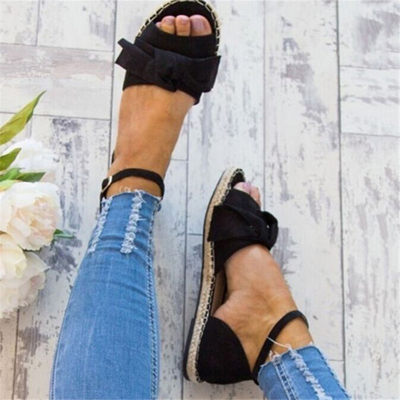 Womens Sandals Plus Size 35-43 Flats Sandals For Summer Shoes Woman Peep Toe Casual Shoes Low Heels Sandalias Mujer Black