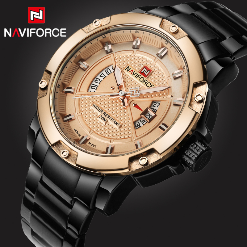 цены New Top Brand Luxury Men watches NAVIFORCE Men's Casual Fashion Clock Full Steel Waterproof Quartz Wrist watch Relogio Masculino