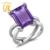 "Gemstoneking 7.10 cttw 14x10mm emerald cut amethyst púrpura genuino de las mujeres ""x"" anillo sólido 925 anillo de cóctel"
