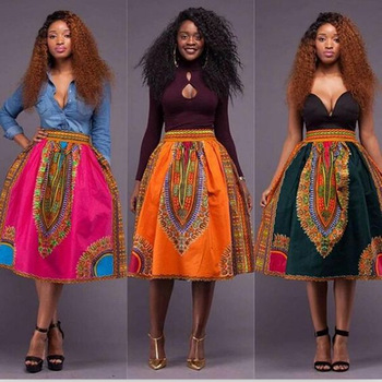 Hot sale African Women Skirt african style Digital printing High Waist Vintage Skirts Casual Ladies Юбка