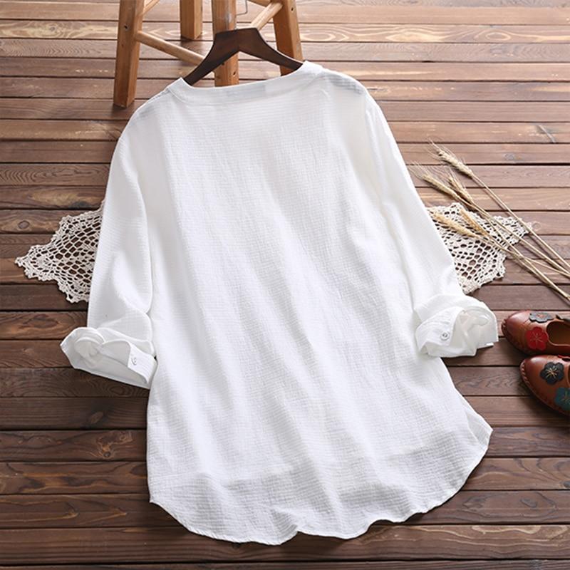 Plus Size 2018 Women Floral Blouse Elegant Autumn O Neck Long Sleeve Casual Loose Cotton Linen Top White Blusas Buttons Shirt 3