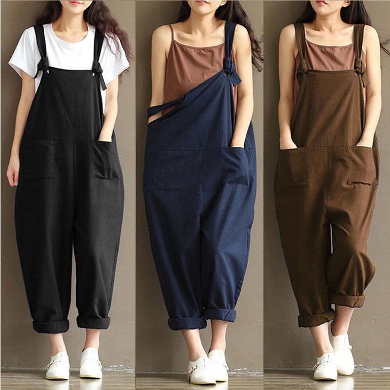 Fashion Summer Women Rompers Width Pocket Solid Color Strap Romper Jumpsuit Ladies Girls Casual Long Trousers Plus Size